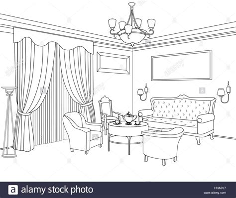 Living Room Interior Sketch Table by Interior Outline Sketch Furniture Blueprint