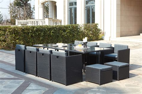 table de jardin tressee table de jardin r 233 sine tress 233 e encastrable 12 places miami
