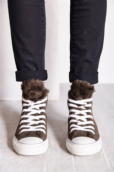 lyst converse suede fur womens high top sneaker  gray