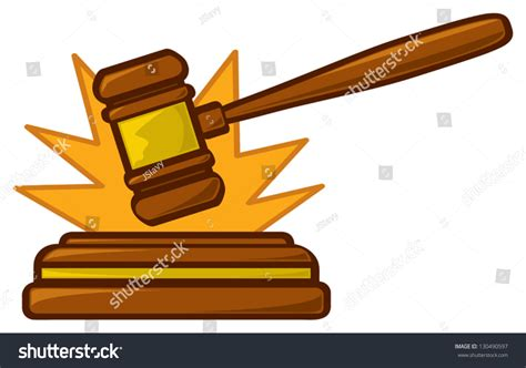 Bench Trial Verdict Cartoon Judges Gavel Striking Sounding Block Stock Vector