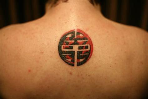 Oriental Circle Tattoo | original colorful chinese circle tattoo on back