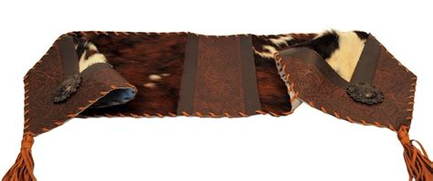 Tooled Leather Cowhide Leather Table Runner 12 X 72 Cowhide Table Runner