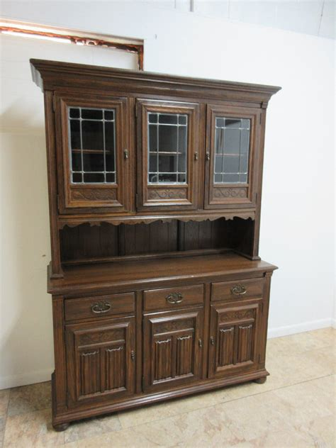 Hutch Display Cabinet by Ethan Allen Royal Charter Oak Jacobean China Cabinet Hutch