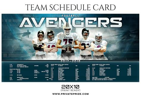 photoshop team card template football team sports schedule card photoshop