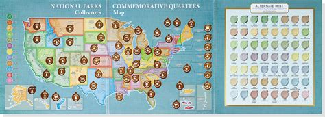 printable quarter collection map national parks commemorative quarters collector s map 2010