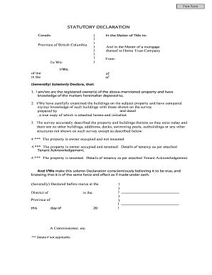 Stat Deck Form by Blank Statutory Declaration Forms And Templates Fillable