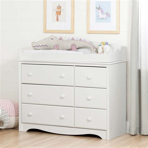 South Shore Angel 6 Drawer Changing Table Dresser In Pure South Shore Changing Table And Dresser White