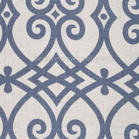 patterned fabric roman shades katherine in indigo blue scroll tile pattern linen