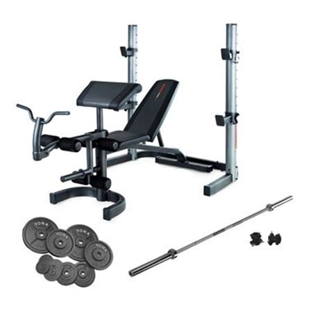 weight bench and weight set weider 490 olympic bench and 140kg cast iron barbell set