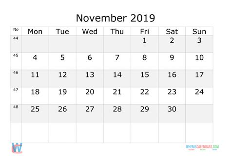 november  printable calendar  week numbers monday starts  printable  monthly