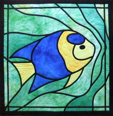glass applique angelfish stained glass applique quilt by deborah wirsu