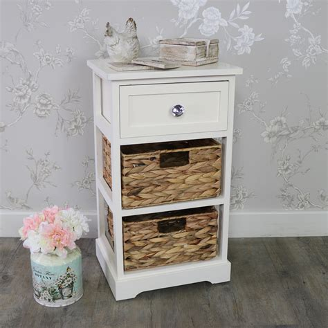 Wicker Storage Drawers Bathroom Wood Wicker 3 Drawer Basket Chest Of Drawers Bedroom Bathroom Storage Ebay