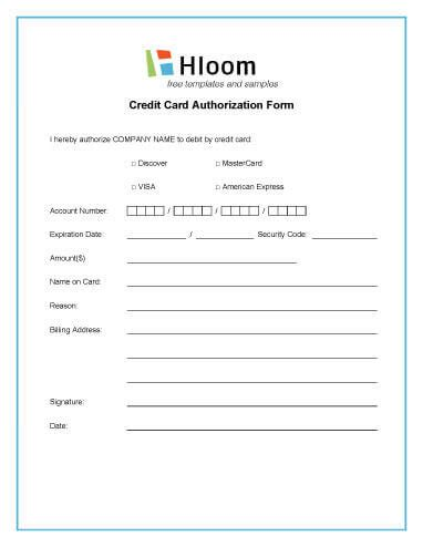 Credit Card Payment Template Uk credit card authorization forms hloom
