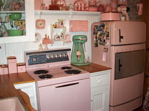 pink kitchen appliances kitchens from the 1950s interior decorating