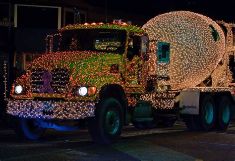cement truck with christmas lights cement truck with