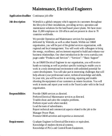 maintenance engineer job description sle 9 exles