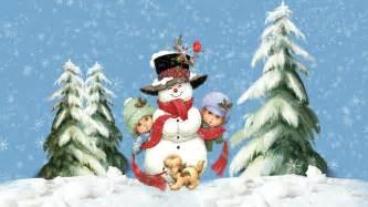 Christmas snow kids with snowman desktop wallpapers hd