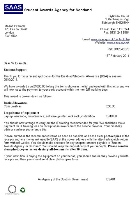 Student Finance Letter Not Received Student Finance Evidence Cover Letter