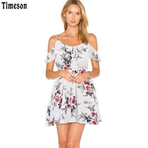 casual cute fashion floral print model image 200779 timeson summer floral print women chiffon white dress