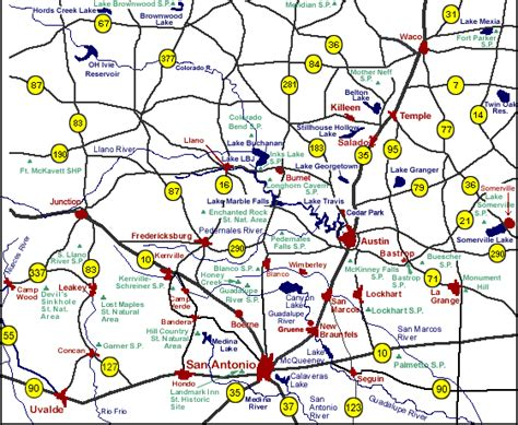 road map of central texas central texas things to do