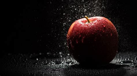 black background photography water water drops fruit apples shadow lights black