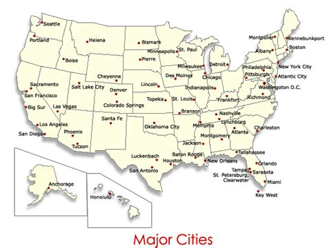 us map with main cities image gallery major cities