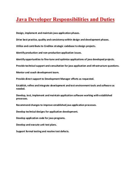 Java Developer Responsibilities java applications developer responsibilities and duties