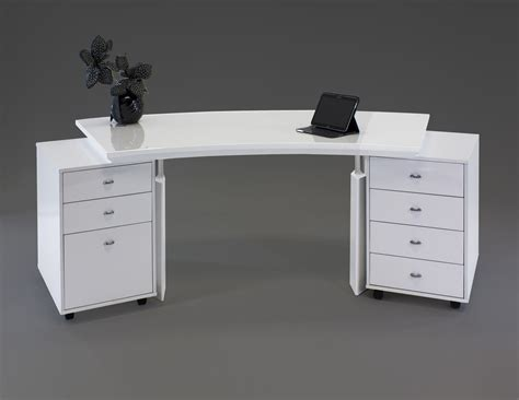 Modern White Lacquer Curved Executive Desk With Mobile Modern White Lacquer Desk