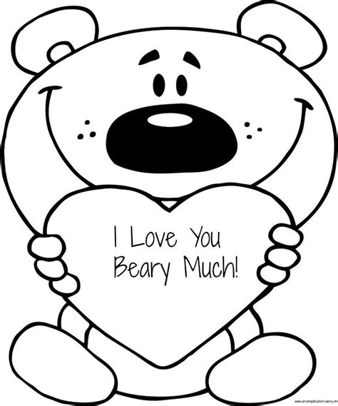 i love you coloring pages to print free valentine s quot i love you beary much quot coloring page