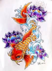 Koi Fish And Lotus Flower Lotus Koi Design