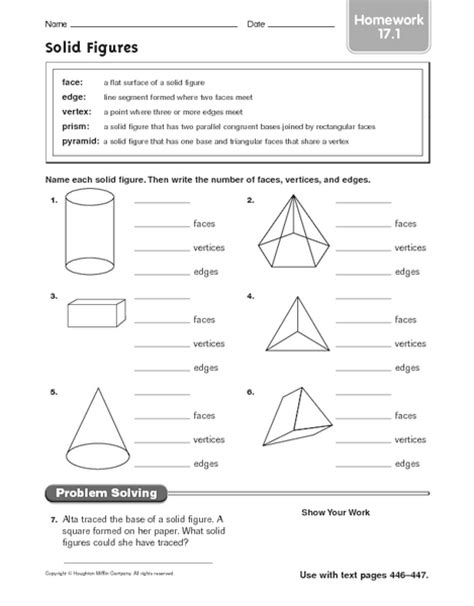 printable math worksheets faces edges and vertices solid shapes worksheets for 3rd grade free printable