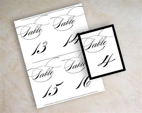instant download pdf digital diy table number template