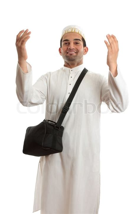 Topi Beard Vapingbest Fashion ethnic mixed race wearing white embroidered robeand topi hat and carrying black shoulder bag