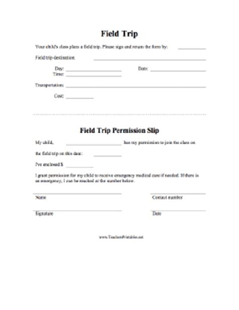 Field Trip Permission Slip Field Trip Form Template