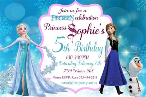 frozen birthday card template 80 birthday invitations free premium templates