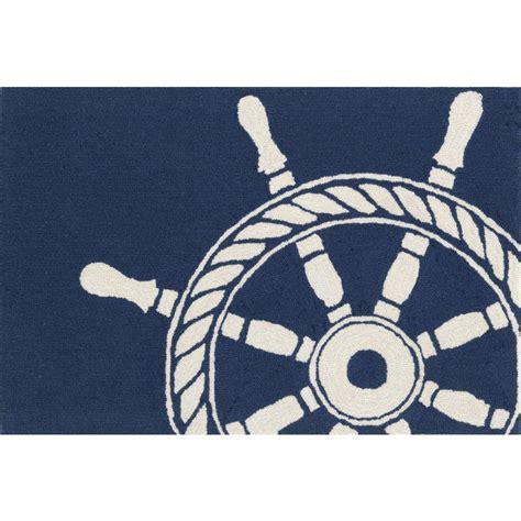 Wheels Rug by Ship Wheel Navy Indoor Outdoor Rug Decor Shop