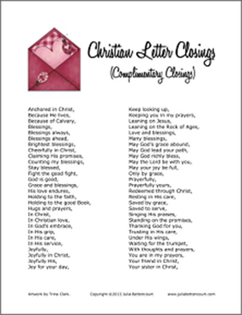 Closing Letter Greetings Christian Letter Closings