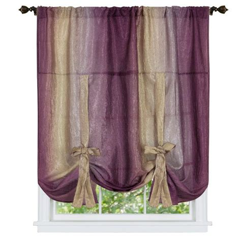 tie up shades curtains achim aubergine ombre tie up shade curtain 50 in w x 63