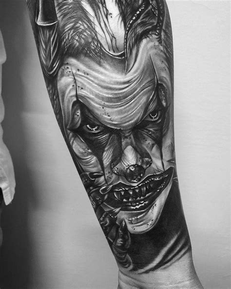 tattoos for men black and white ups of s clown from last week