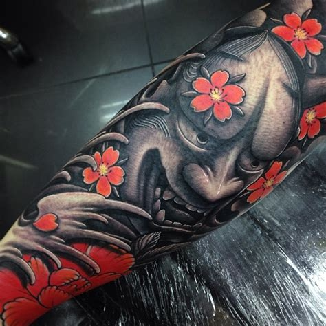 japanese tattoo full hand japanese hannya leg sleeve tattoo by craig holmes by