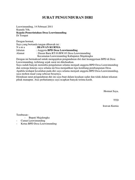 format surat pengunduran diri di organisasi surat pengunduran diri bpd