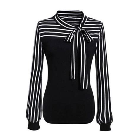blouse liked on polyvore see more white long sleeve blouses shein sheinside black white tie neck striped blouse 21