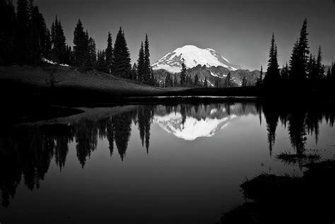 sw and bayou boat tour reflection of mount rainer in calm lake photograph by bill