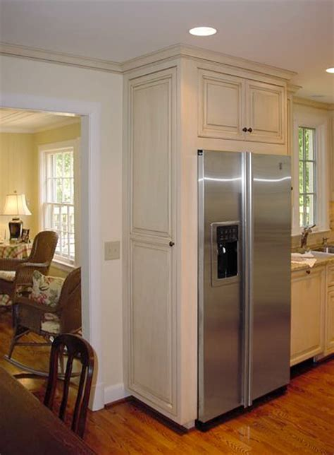 Narrow Galley Kitchen Designs painted amp glazed refrigerator cabinet