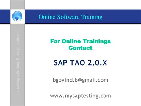 sap tao 2 0 sap erp testing sap testing hp alm training sap tao 2 0