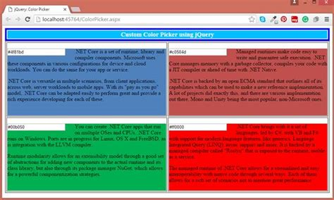 jquery background color jquery color picker change background color at run time