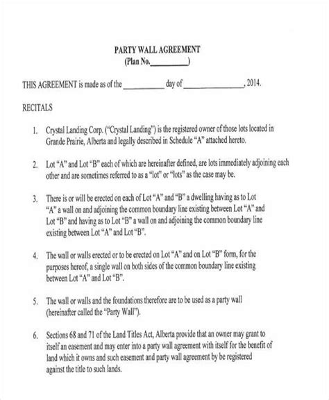 wall agreement letter template 8 wall agreement form sles free sle