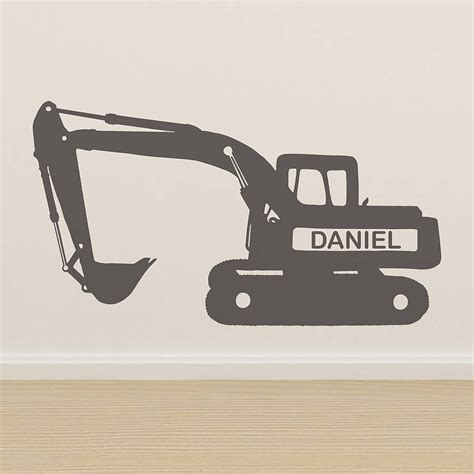 personalised vinyl wall stickers personalised digger vinyl wall sticker by oakdene designs