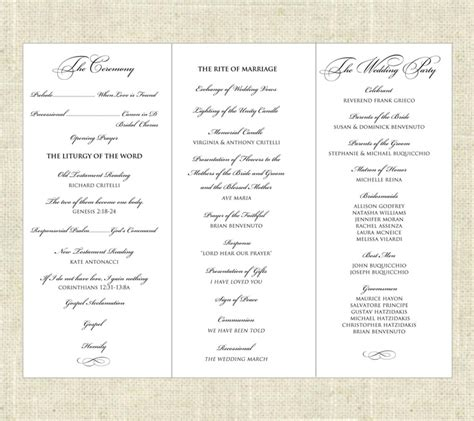 6 Best Images Of Tri Fold Printable Wedding Programs Sle Wedding Programs Exles Tri Free Tri Fold Wedding Brochure Templates