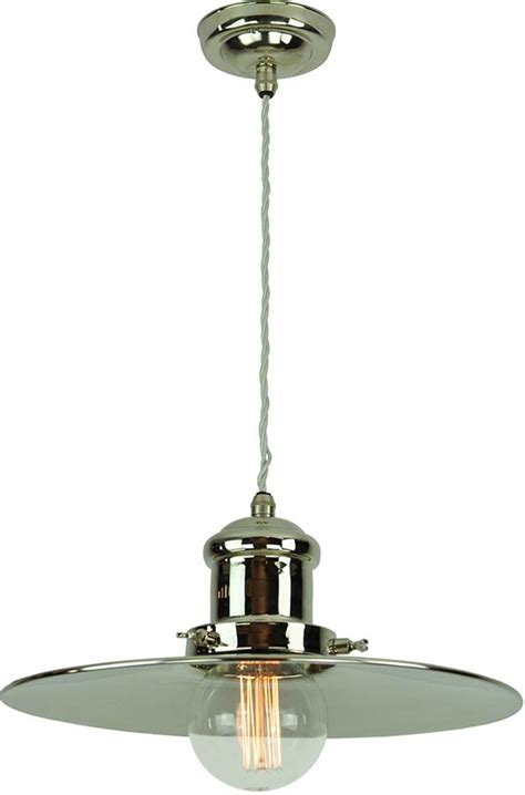 Period Pendant Lighting with Large Edison Replica Period Pendant Light Polished Nickel 1900 2 P N